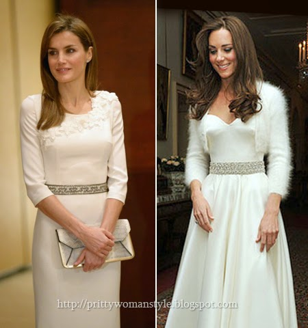 Летисия и Кейт в бяла рокля с ефектен колан от камъни