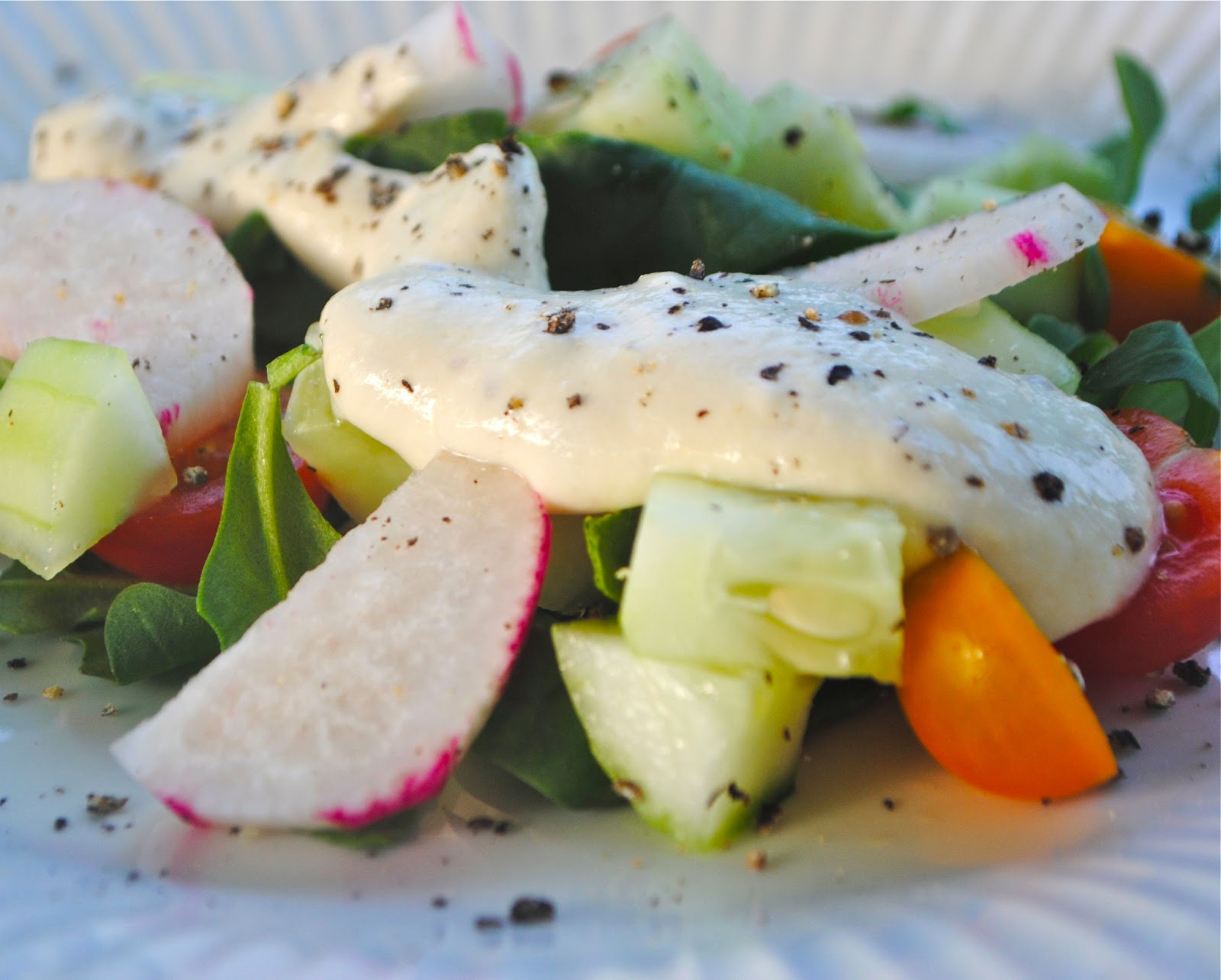 Arugula And Peach Salad With Creamy Chive Vinaigrette Recipes ...