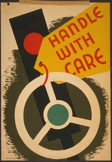 public service announcement, public safety, wpa, federal art project, vintage, vintage posters, retro prints, classic posters, graphic design, free download, art, Handle with Care - Vintage Public Safety Poster