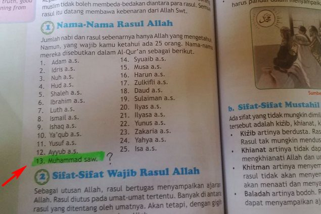 """lagi heboh nih """"nabi muhammad urutan ke 13"""" tercantum di buku agama kelas 5 sd paluta"""