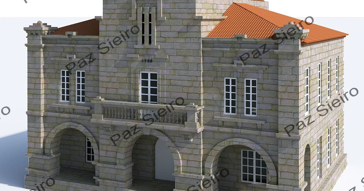 Ourense 3d edificio concello de ponte canedo 1920 - Arquitectos ourense ...