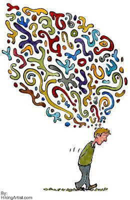 dibujo de hombre cabizbajo sumido en sus pensamientos