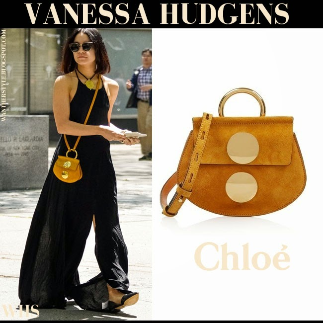 Vanessa Hudgens with brown camel suede Chloe Faye bag and black dress may 8 what she wore summer 70s fashion