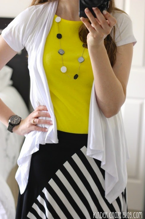 Sttich Fix Diana black and white Diagonal Striped Colorblocked swing skirt from Mystree paired with a bright yellow top and 41Hawthorn short sleeve cardigan