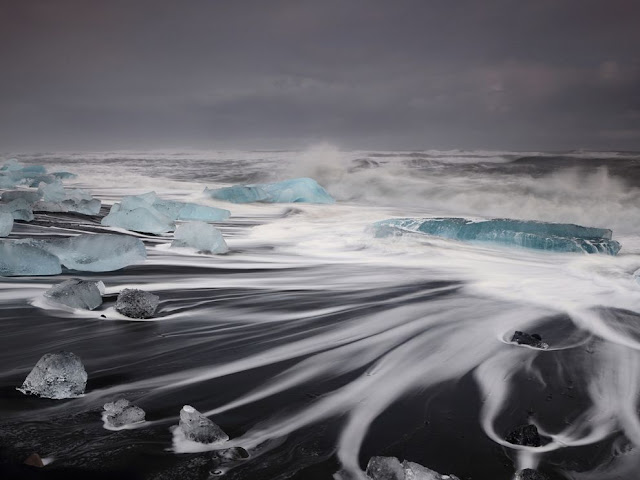 Jökulsárlón Beach, Iceland, awesome view, must go place, wave, beautiful water effect