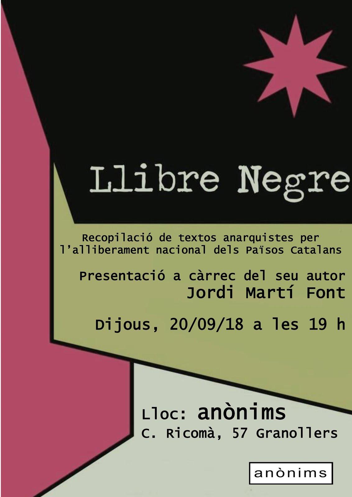 Llibre negre.  Recopilació de textos anarquistes per l'alliberament nacional dels països catalans