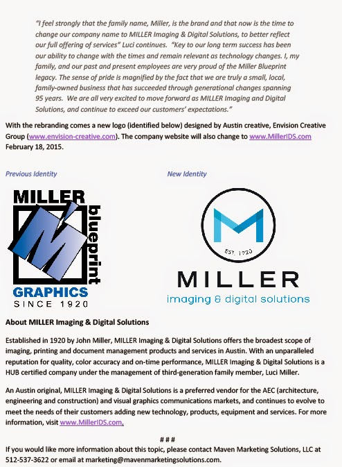Reprographic services association miller blueprint name logo miller blueprint is now miller imaging digital solutions below is the press release announcing their new name logo and location malvernweather