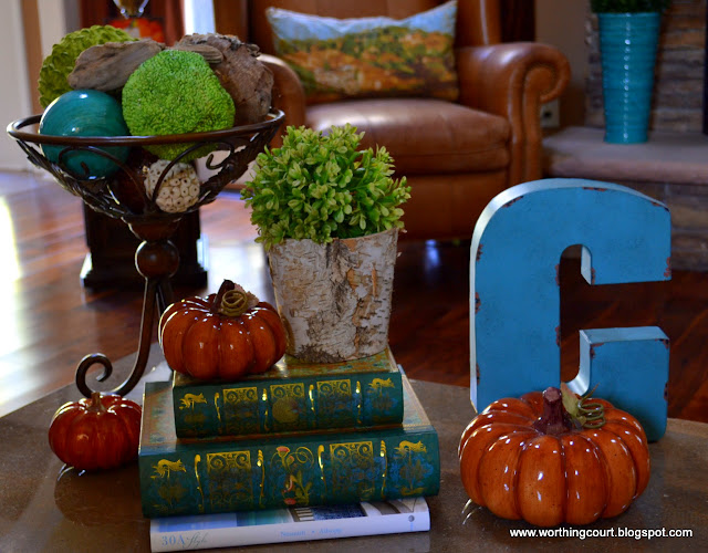 Fall coffee table vignette via Worthing Court blog