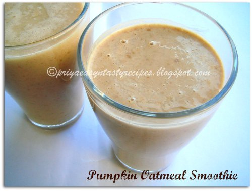 Priya's Versatile Recipes: Pumpkin Oatmeal Smoothie