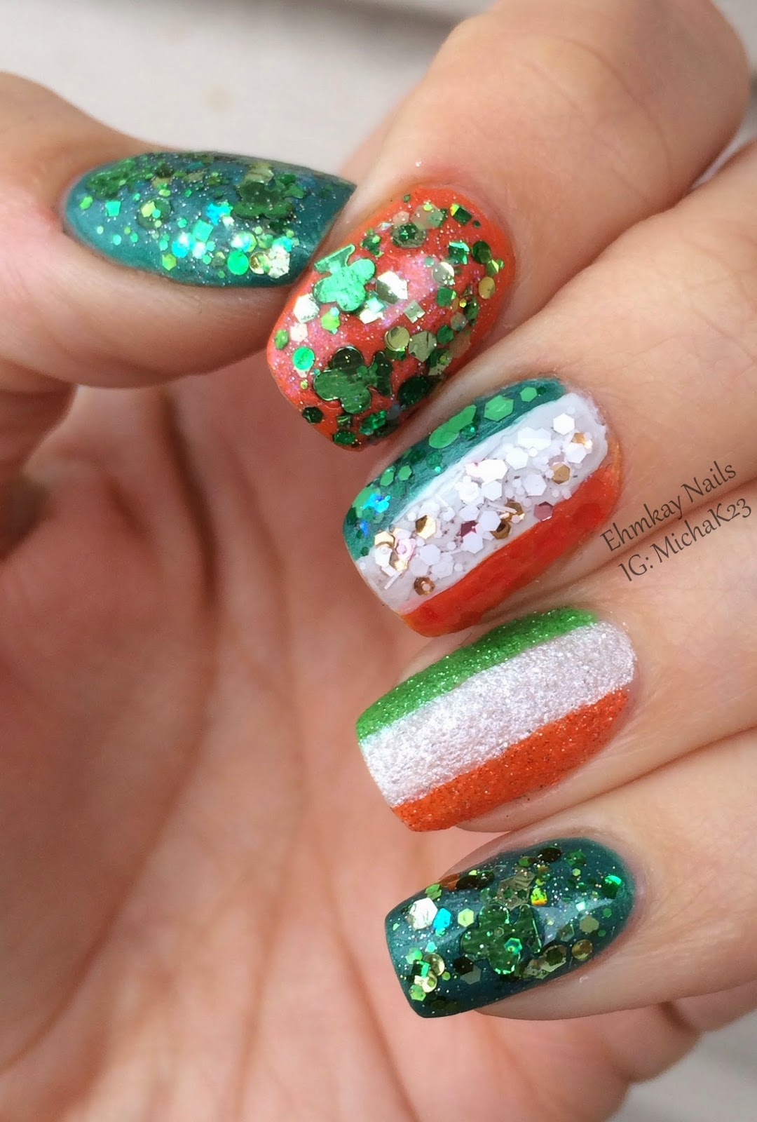 ehmkay nails: Happy St. Patrick\'s Day Nails! Ireland Flag and ...