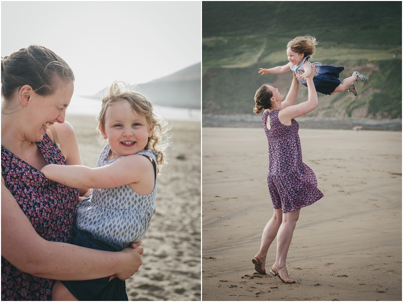 Mother and daughter on the beach at Saunton Sands