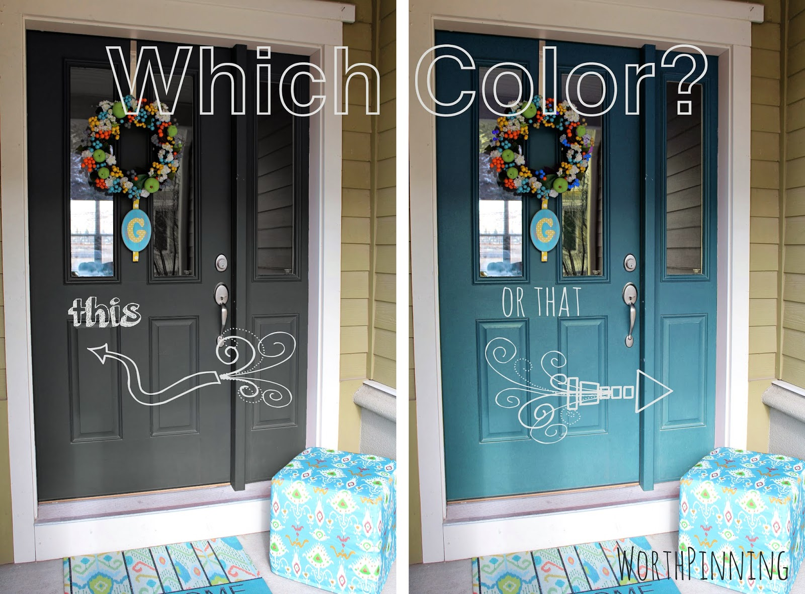 Dark blue front doors - Gray Door Or Teal Door How About Both