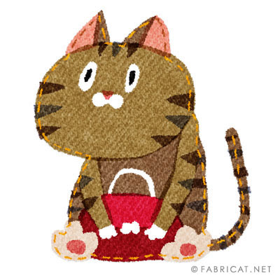 カバンを抱えている可愛い猫のイラスト