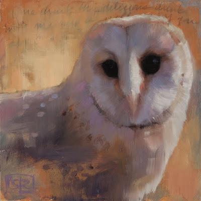 Barn owl, oil painting, Shannon Reynolds