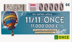 Sorteo del 11 del 11 de la ONCE, martes 11 de noviembre de 2014