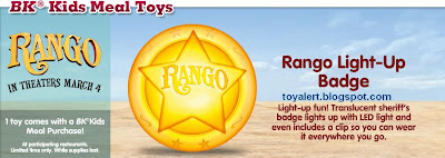 Burger King Rango Kids Meal Toys 2011 - Rango Light Up Badge