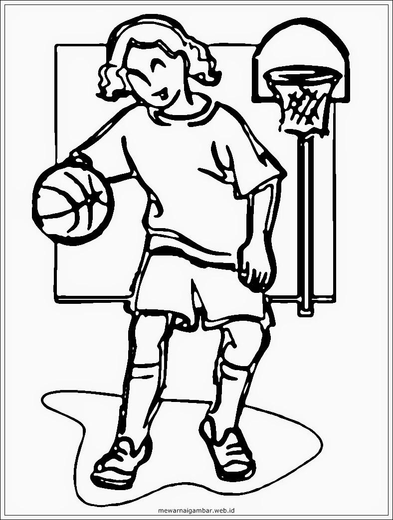 mewarnai gambar anak perempuan bermain bola basket