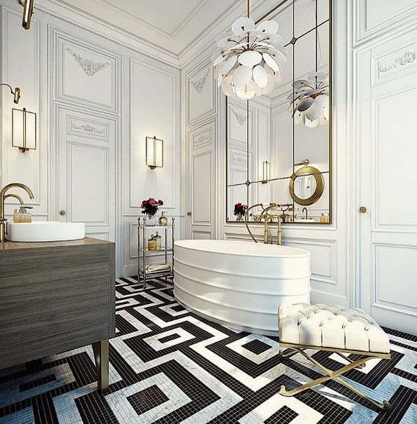 And Over Sized Decor In This Massive Home Spa Bathroom Is Given The Warmth And Intimacy It Needs With Miniature Sized Black And White Tiles Laid Out In
