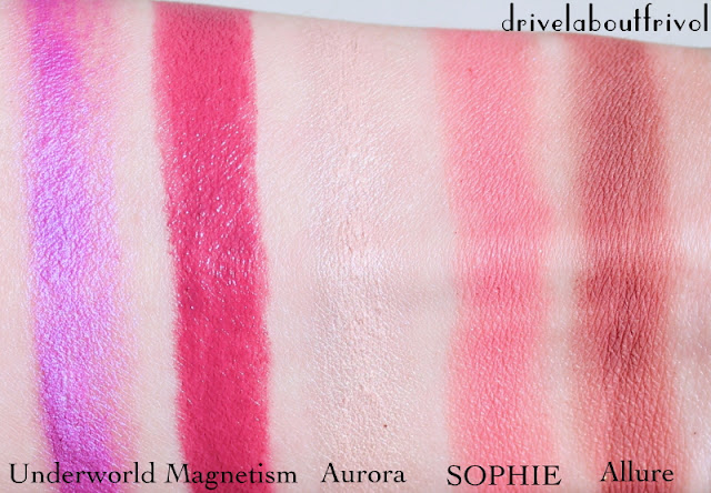 Illamasqua Generation Q swatches Underworld, Magnetism lipstick, Aurora gleam highlighter, S.O.P.H.I.E Sophie Allure blush