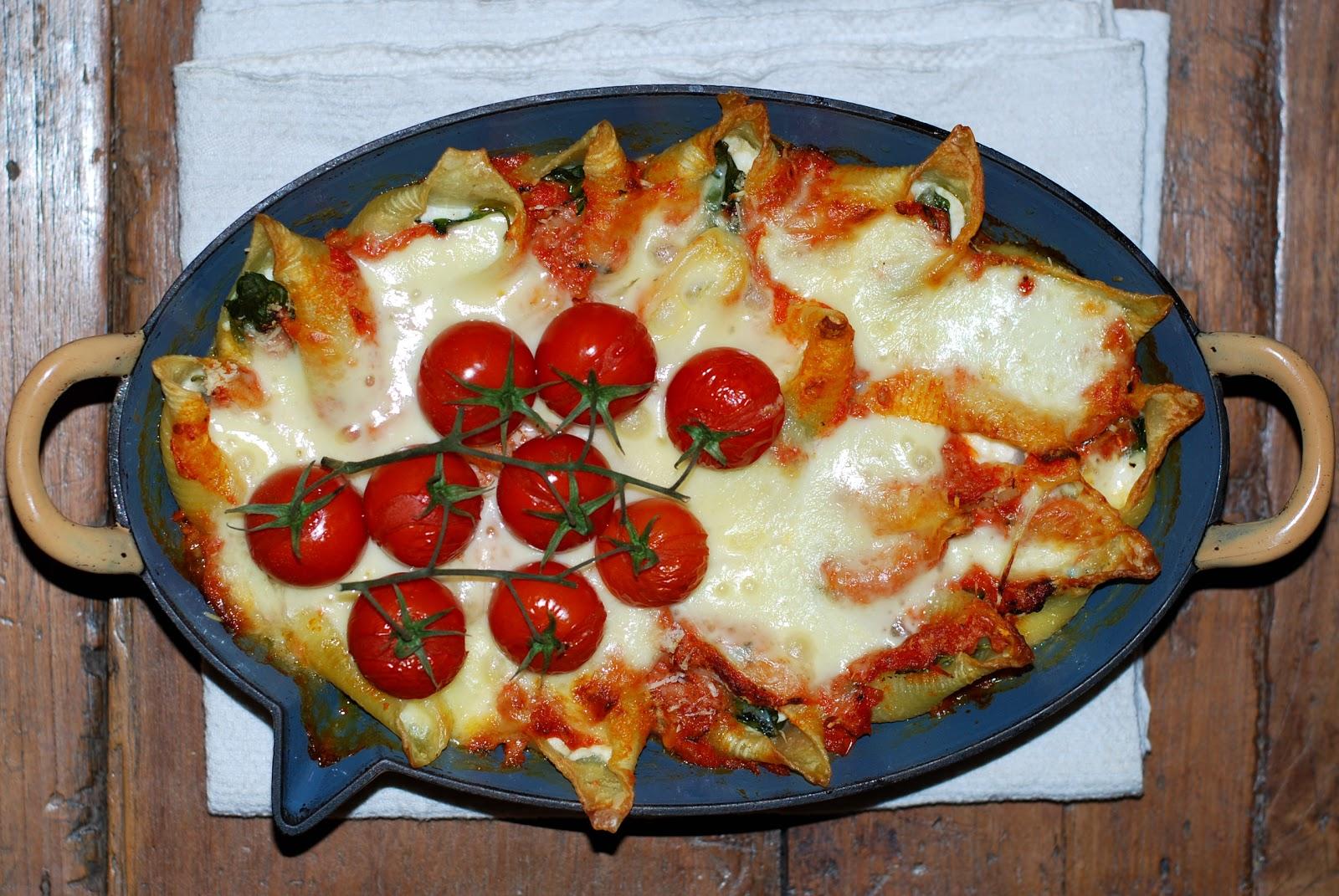 In de keuken: pastaschelpen met kaas uit de oven