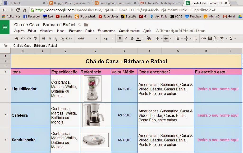 Well-known Pouca grana, muito amor ❤: Lista de Presentes no Google Drive XG95