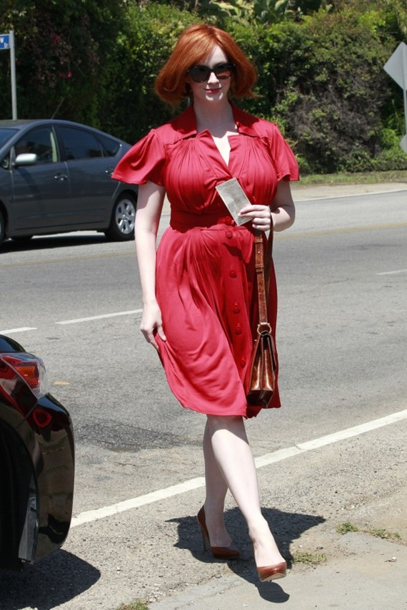 Christina Hendricks out and about in red dress