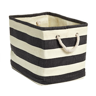 black and white striped bins from container store