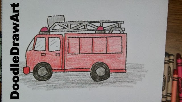how to draw a firetruck!