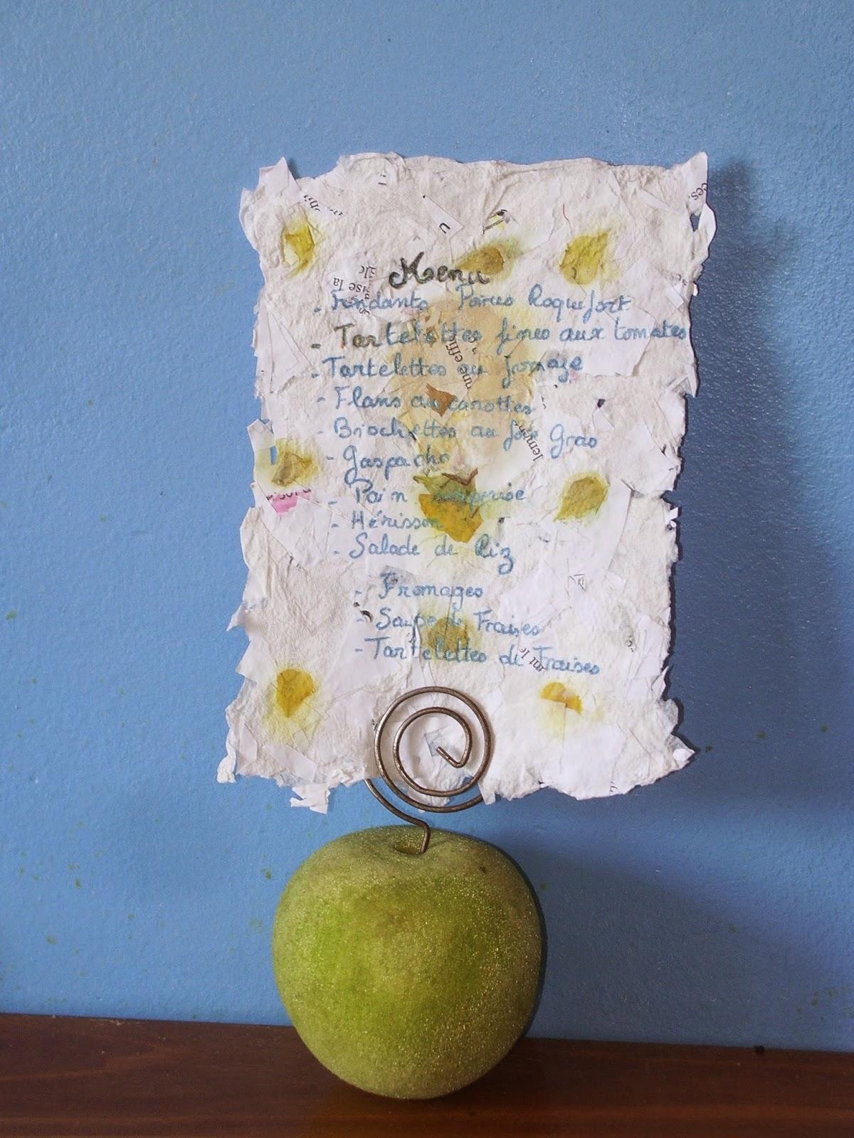 Menu en papier recyclé