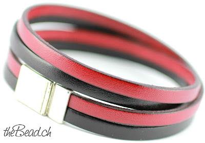 Wickelarmband für Herren in Schwarz und Rot