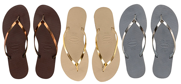 Havaianas You Metallic cores e tiras metalizadas