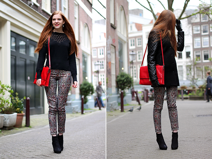 Fashion blogger outfit ootd zara cropped pants lace sweater amsterdam dutch