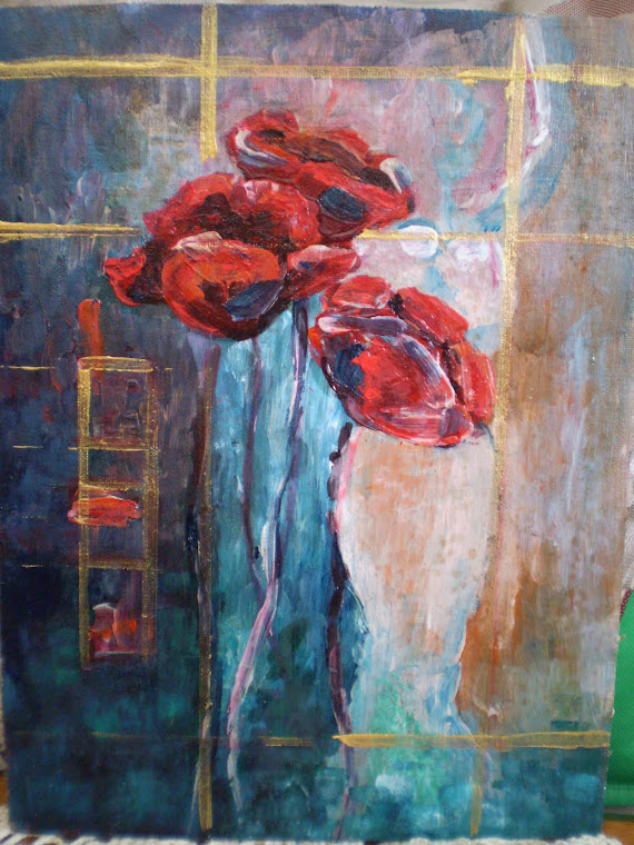 Mrs. and poppies   oil on canvas, signed , 18/24cm