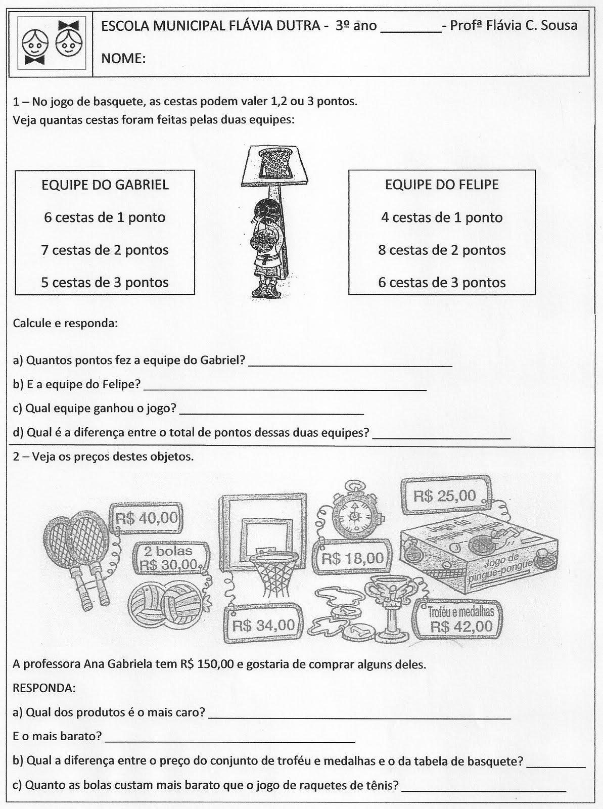 Fabuloso Mundo da Professora Flávia: Atividade de multiplicação e sistema  SF52