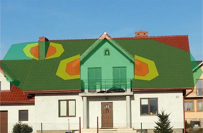 Strefy zacieniania na dachu skierowanym na południe