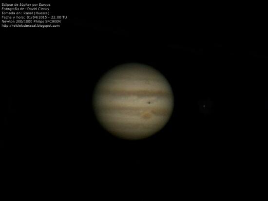 Eclipse de Jupiter por Europa - El cielo de Rasal