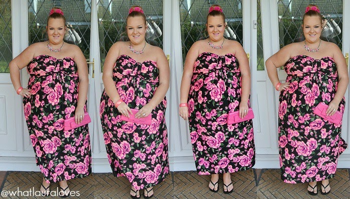 pink, floral, maxi dress, plus size, ax paris, winter floral