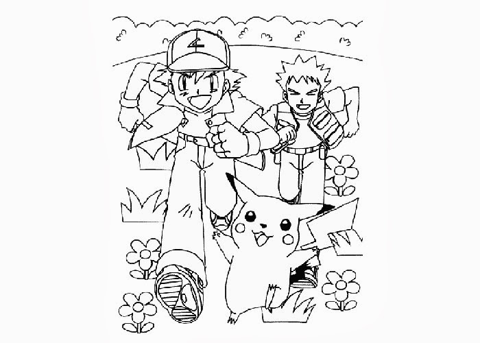 pokemon ash brock coloring pages