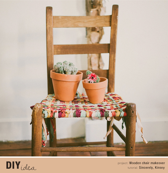 How to update an old wooden chair with fabric scraps. DIY tutorial by Sincerely, Kinsey #diy #tutorial