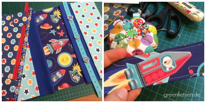 Work in progress: Baby-Windeltasche mit Weltraum, Sternen und Raketen