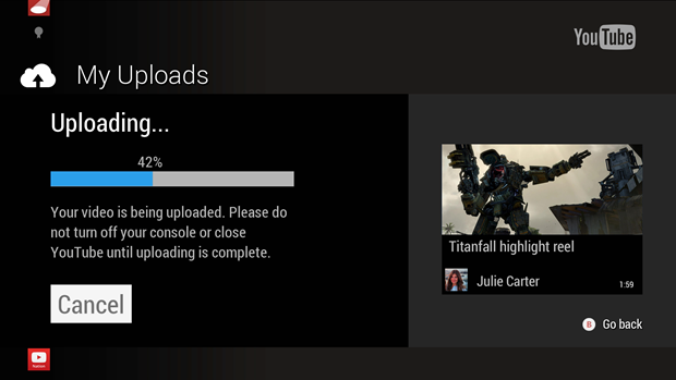Xbox One users will be able to share and upload game recordings to YouTube