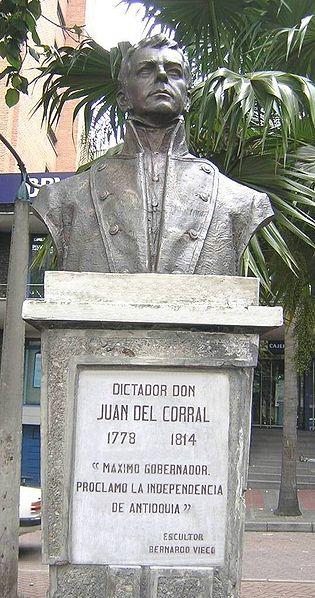 Busto de Don Juan del Corral Dictador durante la independencia de Antioquia