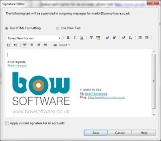 Screenshot of opera mail signature manager, currently has the Bow Softwarelogo inside it