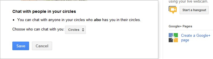 Google Plus Chat with Circle