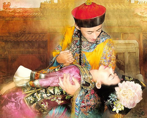 Pintura chinesa representando uma mulher desfalecida nos braços de um homem