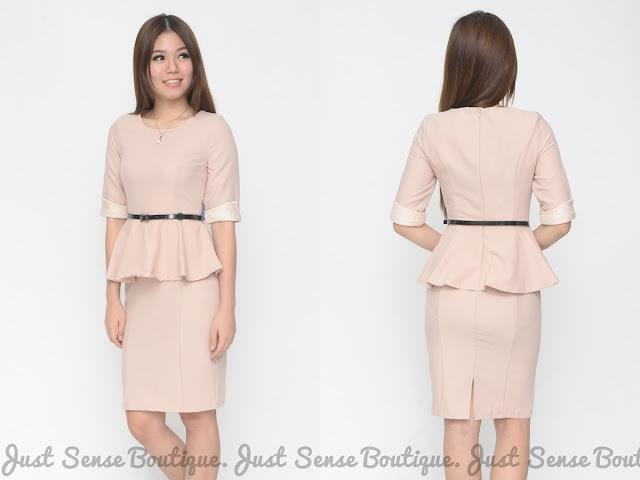 just sense boutique 34 sleeves lace trim peplum dress