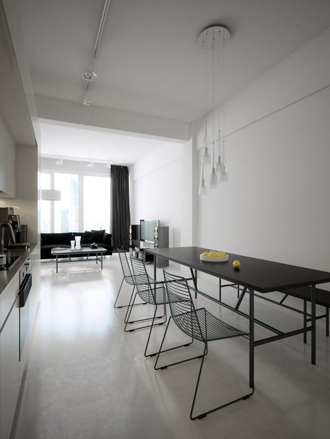 Hogares Frescos Modernos Lofts Minimalistas En Blanco Y Negro