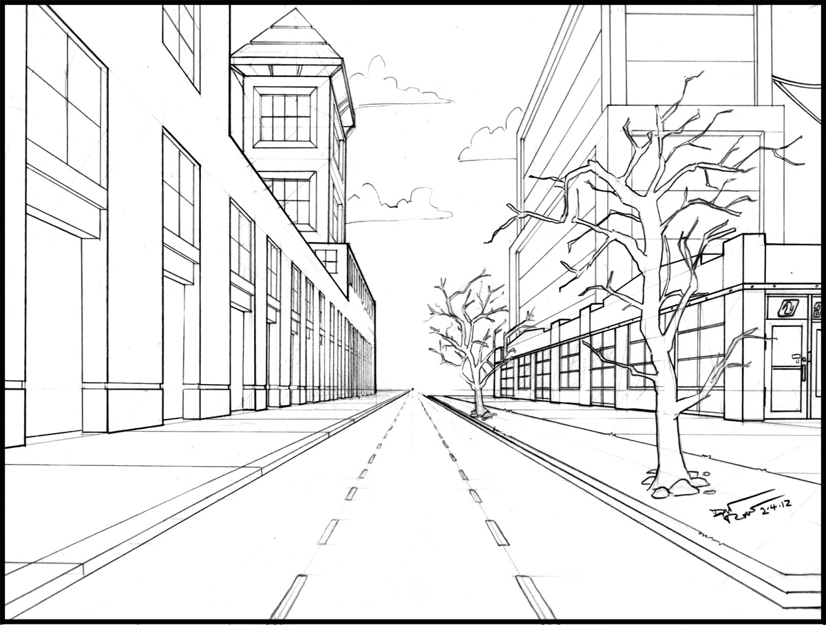 Drawing Using Horizon Lines : Drawing one point perspective