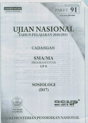 Naskah Soal Un Sosiologi Sma 2011 (Paket 91)