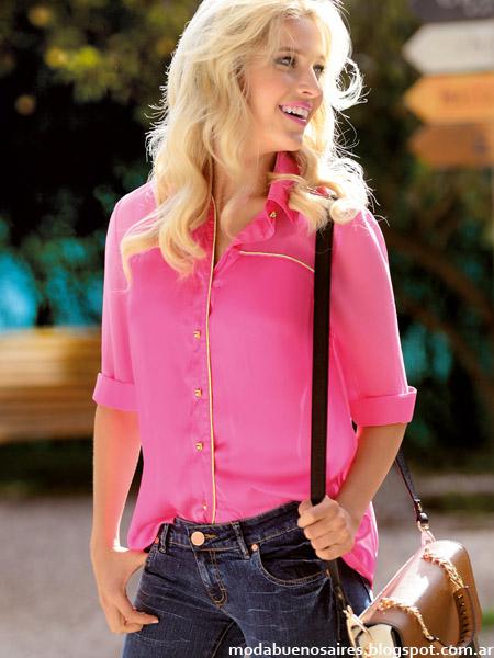 Moda primavera verano 2015 Marcela Koury camisas y blusas 2015.